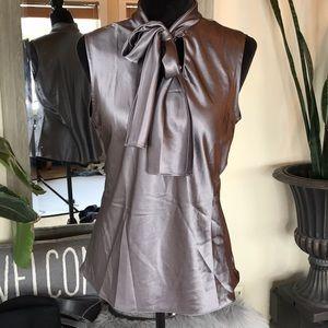 Anne Klein Silver Tie Blouse